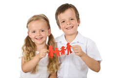 Happy family concept. With kids holding paper people - isolated stock photography