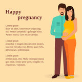 Happy family concept. Couple of man and pregnant woman standing together. Infographics for gynecological department. Stock Images