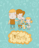 Happy family. Concept family background. Gentle card with mother, father, daughter, son and dog in vector with text I Love my Fami. Happy family. Concept family Royalty Free Stock Photos
