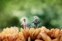 Happy Family Concept. present by Miniature Figure of Father, Mot stock images