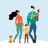 Happy family consisting of mother, father, son and daughter holding hands and walking with dog in snowy winter, welcoming vector illustration