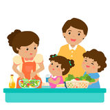 Happy family cook healthy food together cartoon character  Stock Photography