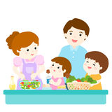 Happy family cook healthy food together. Illustration Royalty Free Stock Image