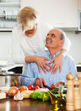 Happy family cooking healthy food Stock Photography