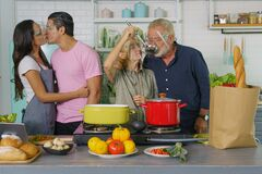 Free Happy Family Cooking Together During Lock Down Stock Image - 190395621
