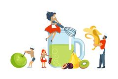 Happy family cooking together a healthy green smoothie. Concept. Poster, banner template for cooking master class in flat. Dad, mom, daughter, son enjoys of vector illustration
