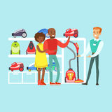 Happy family couple choosing a vacuum cleaner with shop assistant help in home appliance store colorful vector Stock Photo