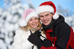 Happy family couple in winter Stock Image