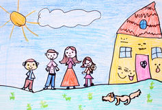 Happy family - crayon drawing Stock Image