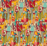 Happy family crowd parents people and kids color seamless pattern. Stock Photography