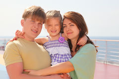 Happy family on cruise liner deck Royalty Free Stock Photo