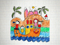 Happy family on cruise trip in ship Royalty Free Stock Images