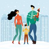 Happy family, cute smiling characters, mother, father, son and daughter holding hands and walking in snowy winter city, houses, vector illustration