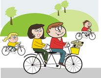 Happy family cycling cartoon. Cartoon of happy family cycling in park with pet dog in basket Stock Photo