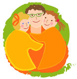 Happy family, dad with daughters. The image is made in the style of children's drawings Royalty Free Stock Image
