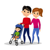 Happy family. Dad wheels the baby in the pram. Father, mother and son. Isolated people on white background. Flat style. Vector illustration vector illustration