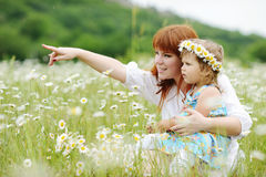 Happy family in daisy field Royalty Free Stock Image