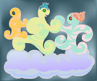 Happy family dancing on the cloud Stock Photo