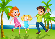A happy family dancing near the river. Illustration of a happy family dancing near the river Royalty Free Stock Photos