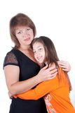 Happy family a daughter with mother. Isolated Royalty Free Stock Image