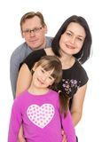 Happy family a daughter seven years old, dad and royalty free stock photography