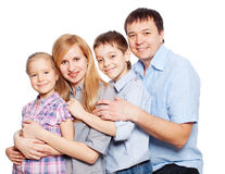 Happy family with daughter and son Stock Photos