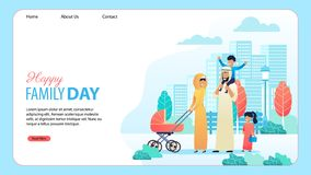 Happy Family Day Cartoon Landing Page Template royalty free illustration