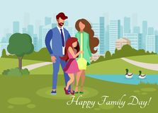 Happy Family Day Flat Vector Postcard Template royalty free illustration
