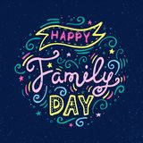 Happy Family Day Lettering. Vector illustration on blue background vector illustration