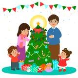 Happy family decorate Christmas tree  art illustration. Cartoon  illustration of a happy family Stock Image
