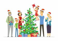 Happy family decorates Christmas tree - cartoon people characters illustration Stock Photography