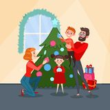 Happy Family Decorating Christmas Fir Tree. Father, Mother, Son and Daughter Celebrating New Year. Vector illustration Stock Image