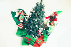 Happy family decorating Christmas tree, dressed in elf costumes. Happy family decorating Christmas tree, dressed in elf and Santa helper costumes. White stock photography