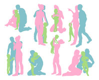 Happy family detailed silhouettes Royalty Free Stock Image