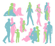 Happy family detailed silhouettes Stock Images