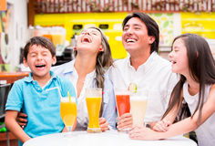 Happy family at the diner Royalty Free Stock Photos