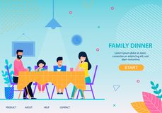 Happy Family Dinner Conceptual Flat Landing Page. Happy Family Dinner Conceptual Landing Page Flat Template Cartoon Characters Eating Together at Dining Table vector illustration