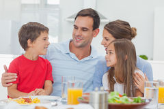 Happy family during the dinner Royalty Free Stock Photos
