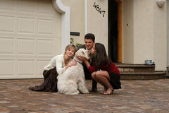 Happy family with a dog royalty free stock image