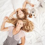 Happy family with dog Stock Image