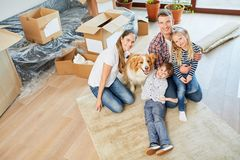 Happy family with dog in new home royalty free stock image