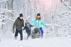 Happy family with dog outdoors in a winter forest. Mother, fother, son and big pet dog. Giant Caucasian Shepherd Dog stock photo