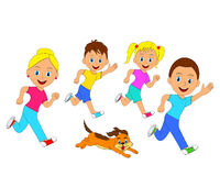 Happy family and dog running Royalty Free Stock Images