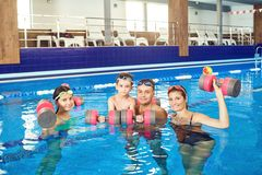 Happy family doing exercises with dumbbells in a swimming pool. stock image