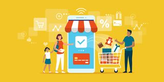 Happy family doing grocery shopping online. With a mobile app on their smartphone, the man is holding a shopping cart with products and the woman is making the stock illustration