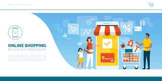 Happy family doing grocery shopping online. With a mobile app on their smartphone, the man is holding a shopping cart with products and the woman is making the royalty free illustration