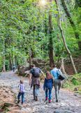 Happy family are doing hiking in the forest stock image