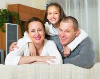 Happy family in domestic interior Royalty Free Stock Photo