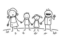 Happy Family Doodle. A hand drawn vector doodle illustration of a happy family holding hands together Stock Photography