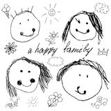Happy family doodle real child Stock Photography